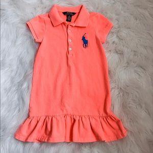 Ralph Lauren Polo Neon Orange Girl Dress